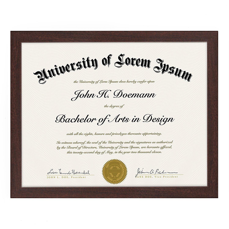 "miniature 9 - Americanflat Diploma Frame Tempered Glass - Hanging Hardware - 8.5"" x 11"""