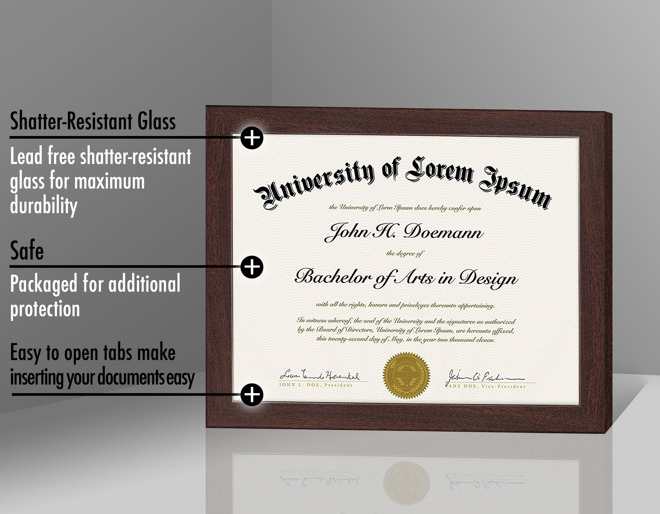 "miniature 12 - Americanflat Diploma Frame Tempered Glass - Hanging Hardware - 8.5"" x 11"""