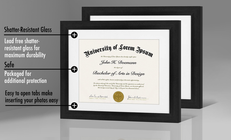 "miniature 24 - Americanflat Diploma Frame Tempered Glass - Hanging Hardware - 8.5"" x 11"""