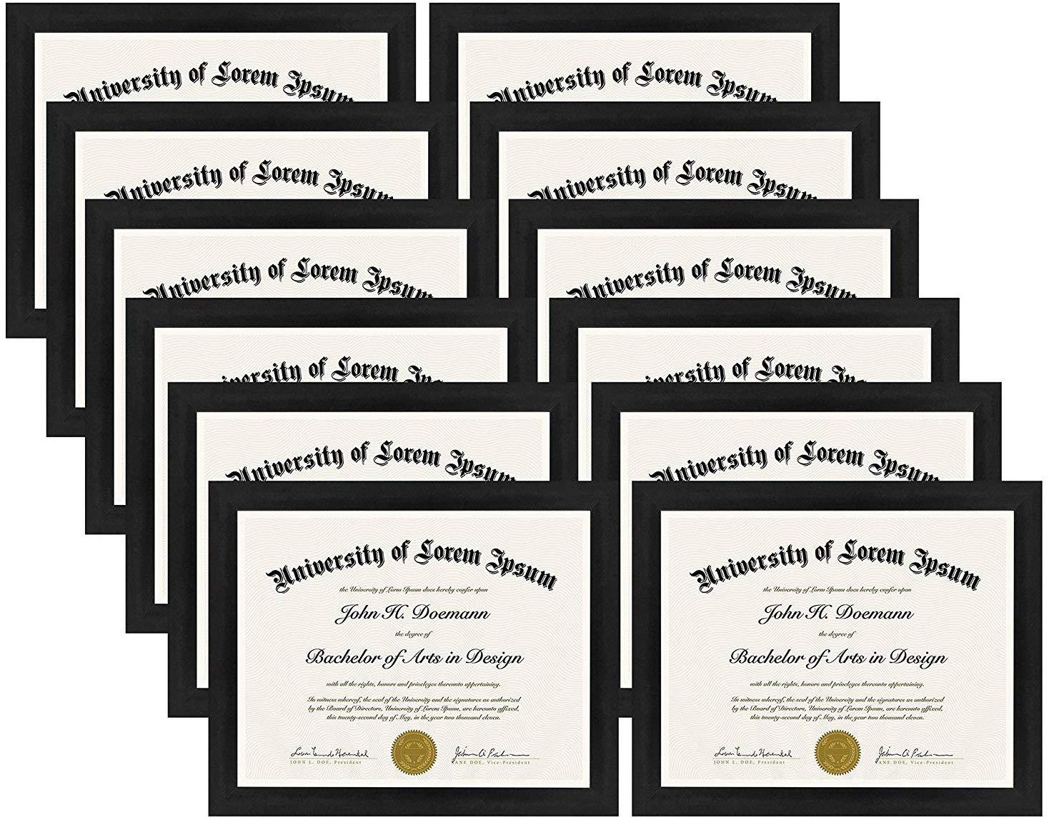 "miniature 21 - Americanflat Diploma Frame Tempered Glass - Hanging Hardware - 8.5"" x 11"""