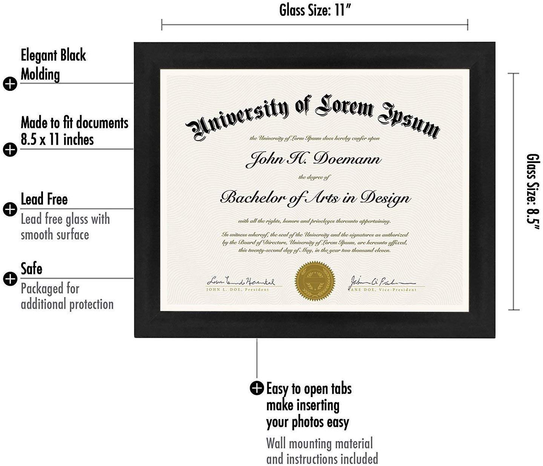 "miniature 22 - Americanflat Diploma Frame Tempered Glass - Hanging Hardware - 8.5"" x 11"""