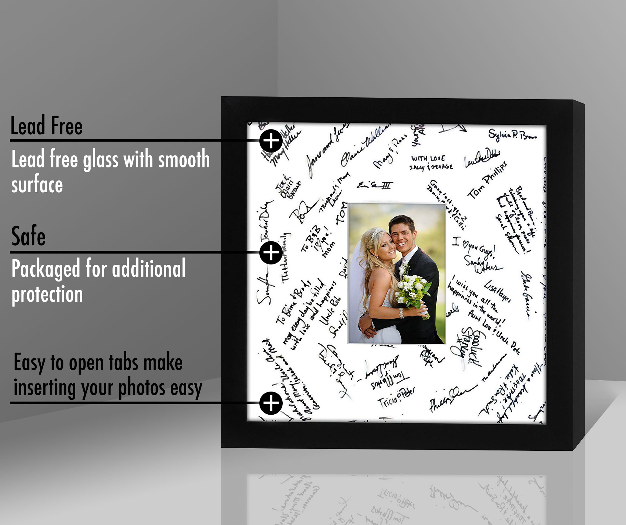 miniature 5 - 14x14 Wedding Signature Picture Frame Display Pictures 5x7 or 14x14 Without Mat