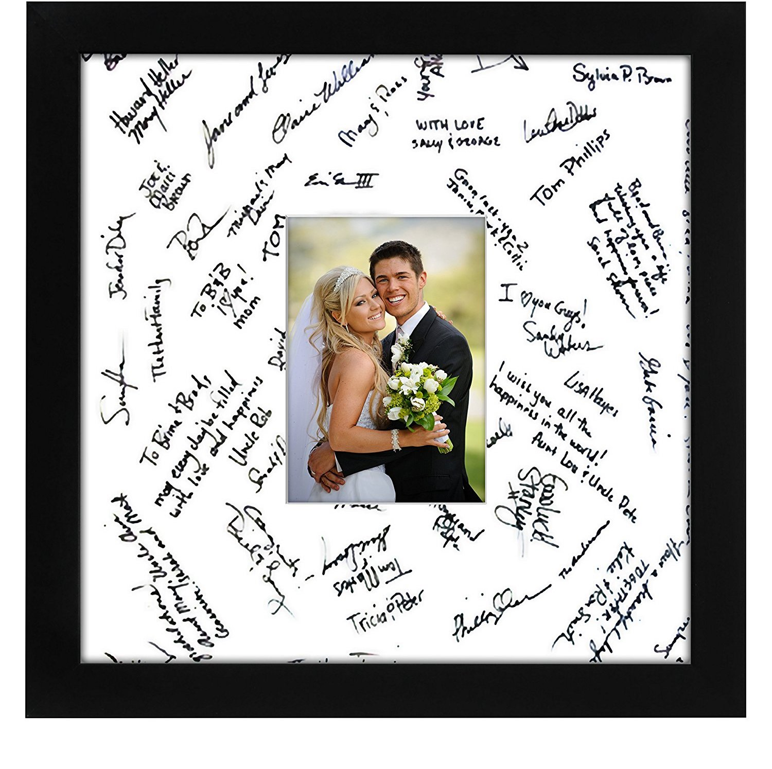 miniature 13 - 14x14 Wedding Signature Picture Frame Display Pictures 5x7 or 14x14 Without Mat