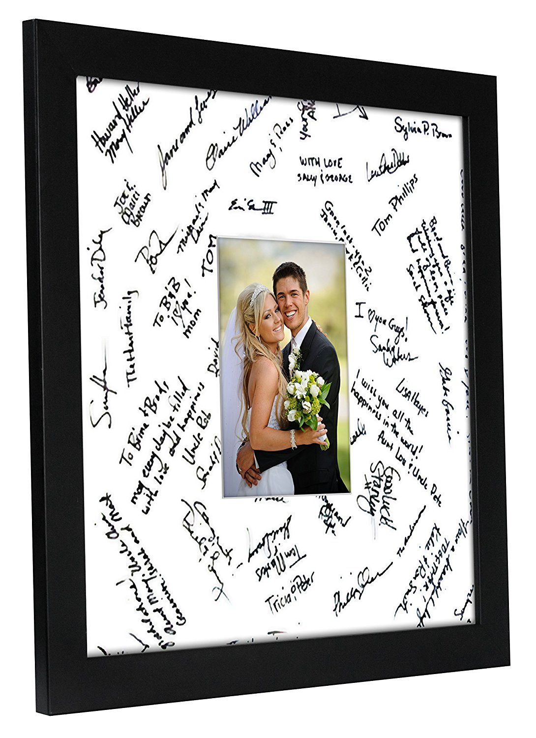 miniature 14 - 14x14 Wedding Signature Picture Frame Display Pictures 5x7 or 14x14 Without Mat