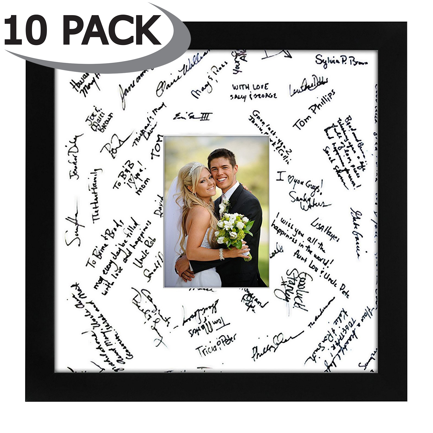 miniature 10 - 14x14 Wedding Signature Picture Frame Display Pictures 5x7 or 14x14 Without Mat