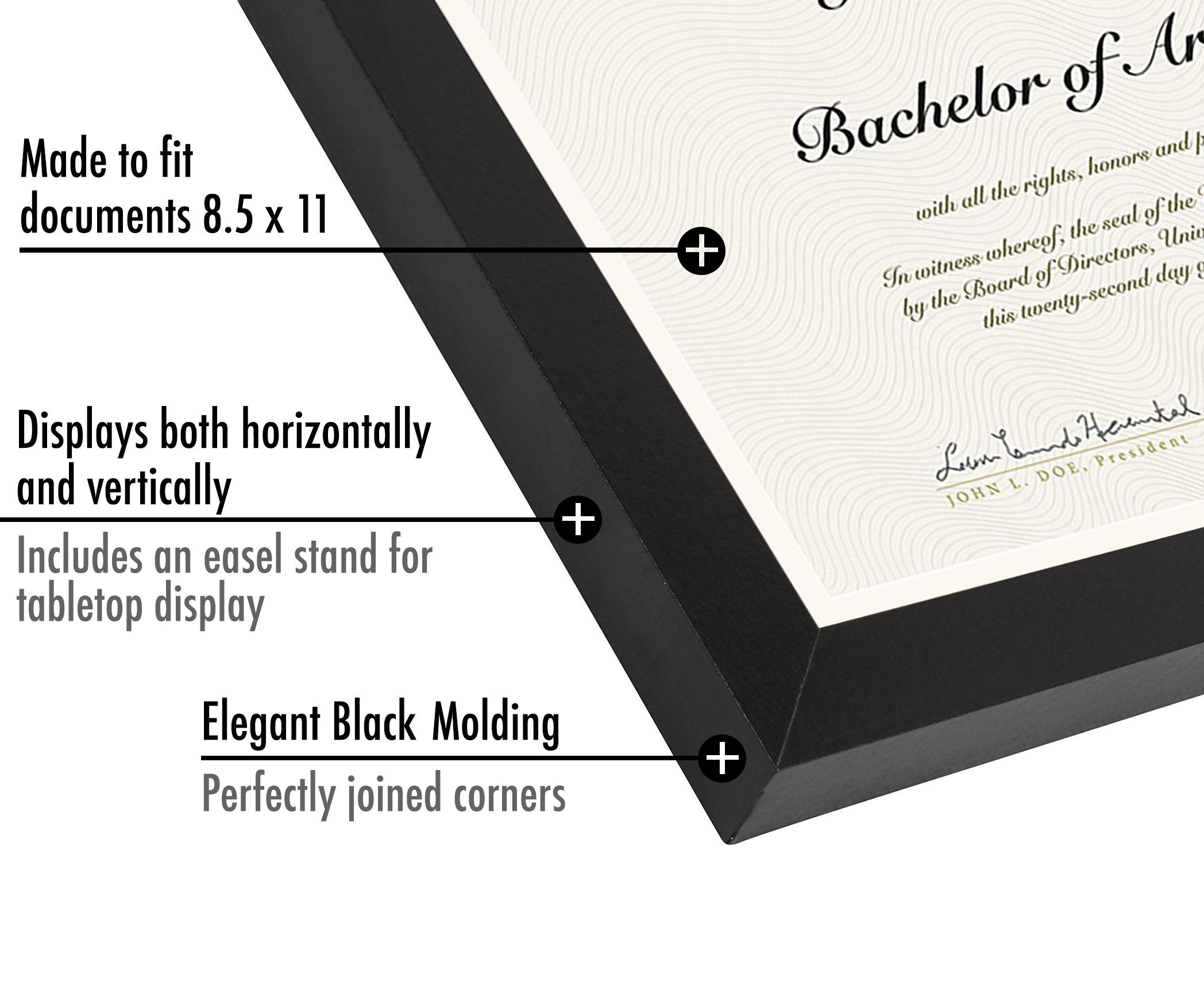 "miniature 16 - Americanflat Diploma Frame Tempered Glass - Hanging Hardware - 8.5"" x 11"""