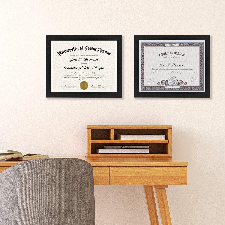 "miniature 18 - Americanflat Diploma Frame Tempered Glass - Hanging Hardware - 8.5"" x 11"""