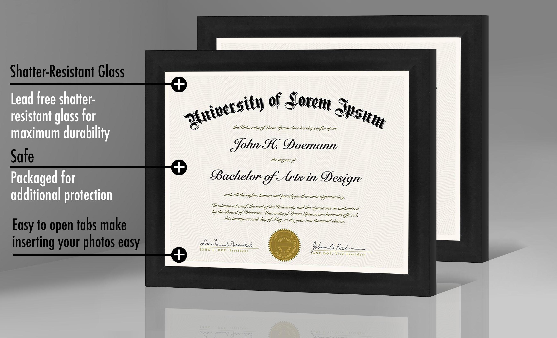 "miniature 17 - Americanflat Diploma Frame Tempered Glass - Hanging Hardware - 8.5"" x 11"""