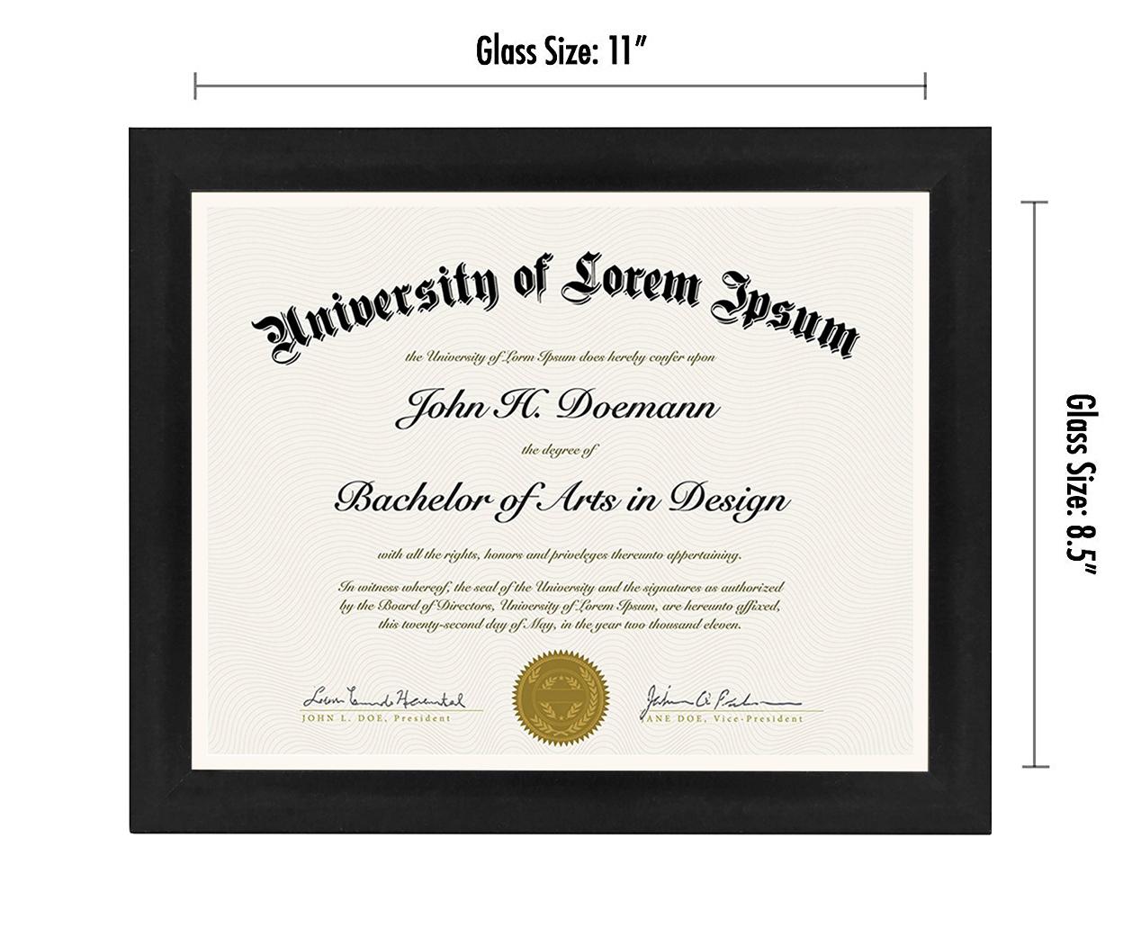 "miniature 15 - Americanflat Diploma Frame Tempered Glass - Hanging Hardware - 8.5"" x 11"""