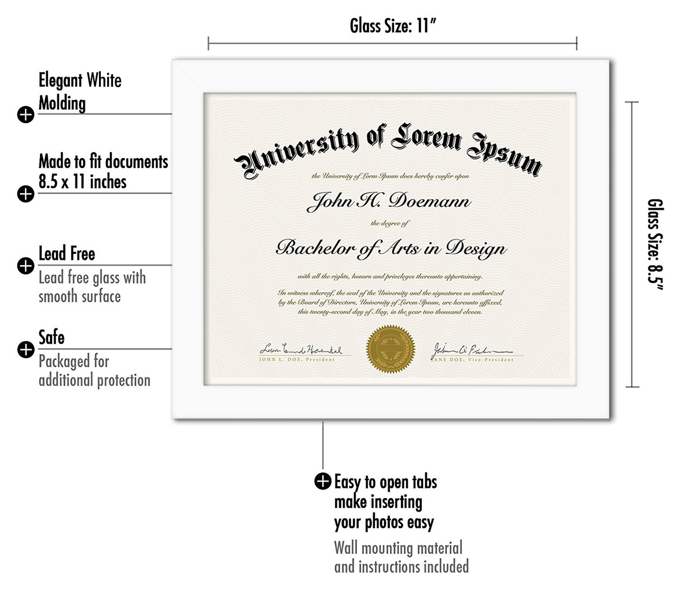 "miniature 27 - Americanflat Diploma Frame Tempered Glass - Hanging Hardware - 8.5"" x 11"""