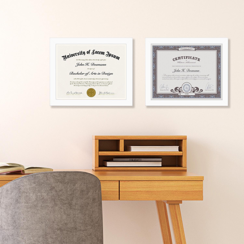 "miniature 30 - Americanflat Diploma Frame Tempered Glass - Hanging Hardware - 8.5"" x 11"""