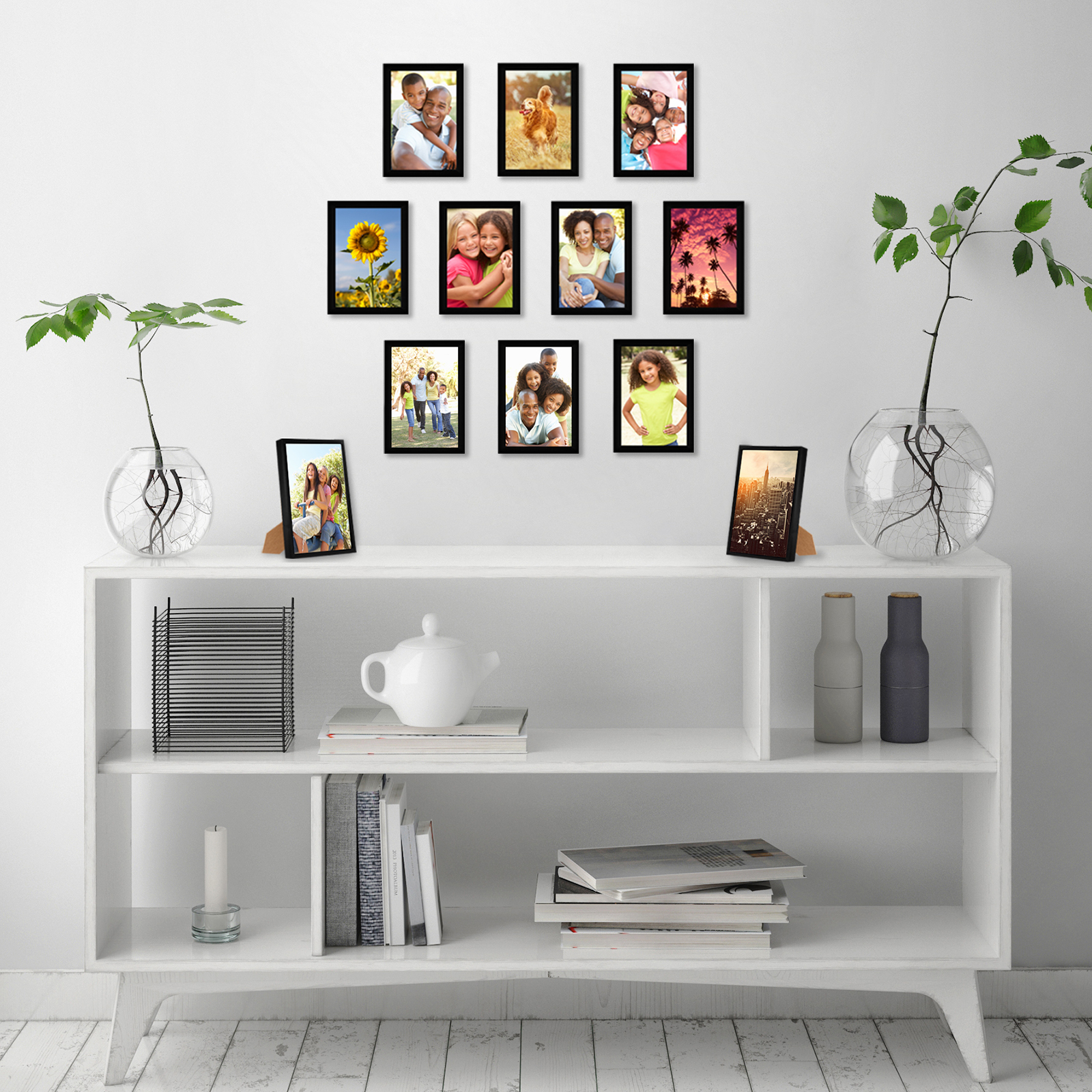 miniature 27 - Americanflat Picture Frame Black Plastic 4x6 5x7 8x10 Wall Tabletop 6 or 12 Pack