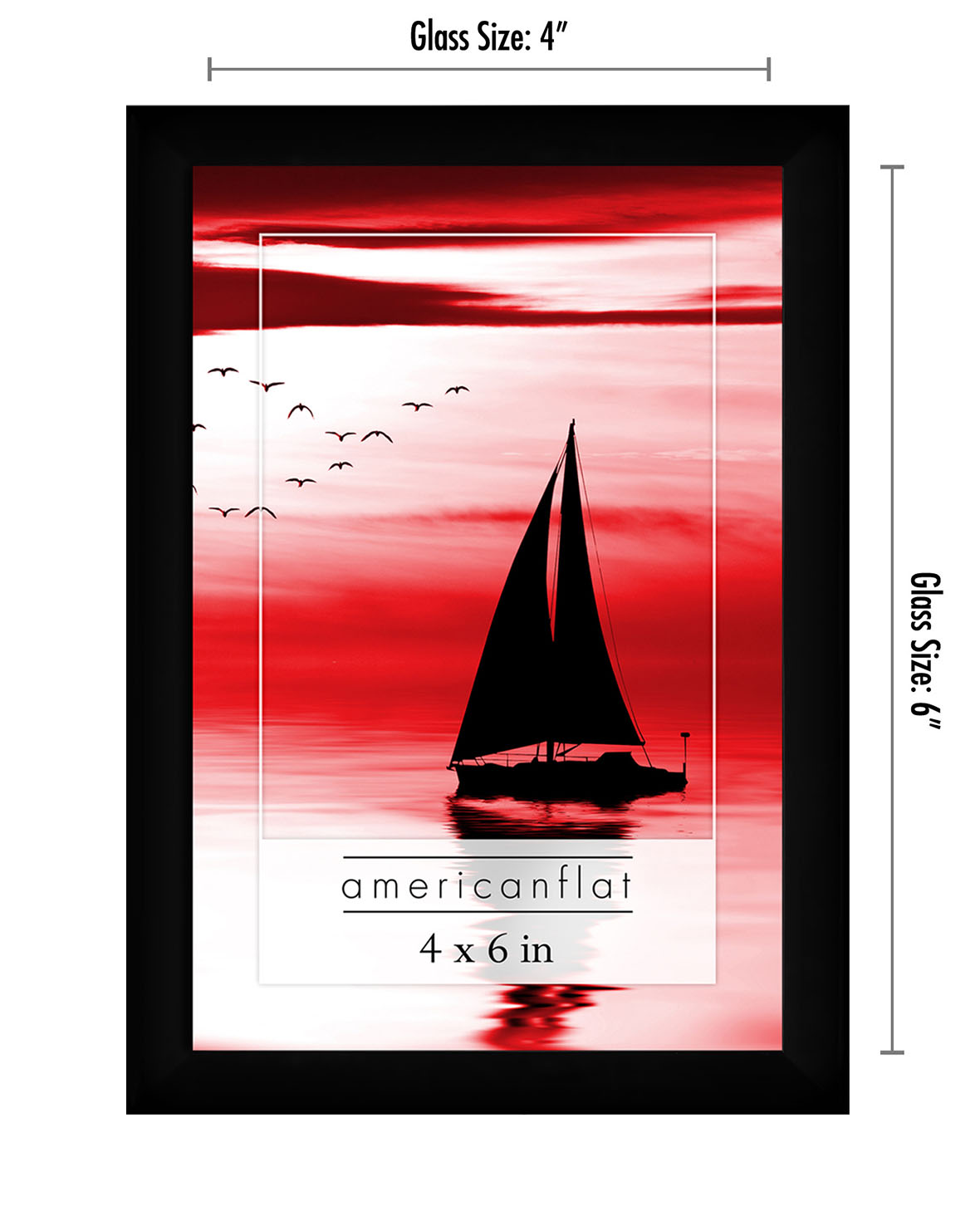 miniature 24 - Americanflat Picture Frame Black Plastic 4x6 5x7 8x10 Wall Tabletop 6 or 12 Pack