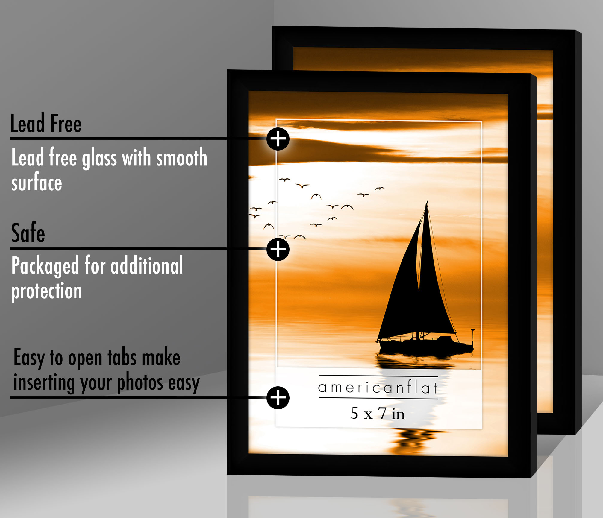 miniature 33 - Americanflat Picture Frame Black Plastic 4x6 5x7 8x10 Wall Tabletop 6 or 12 Pack