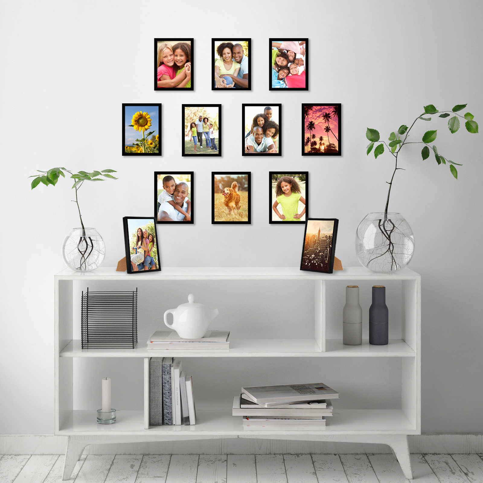 miniature 34 - Americanflat Picture Frame Black Plastic 4x6 5x7 8x10 Wall Tabletop 6 or 12 Pack