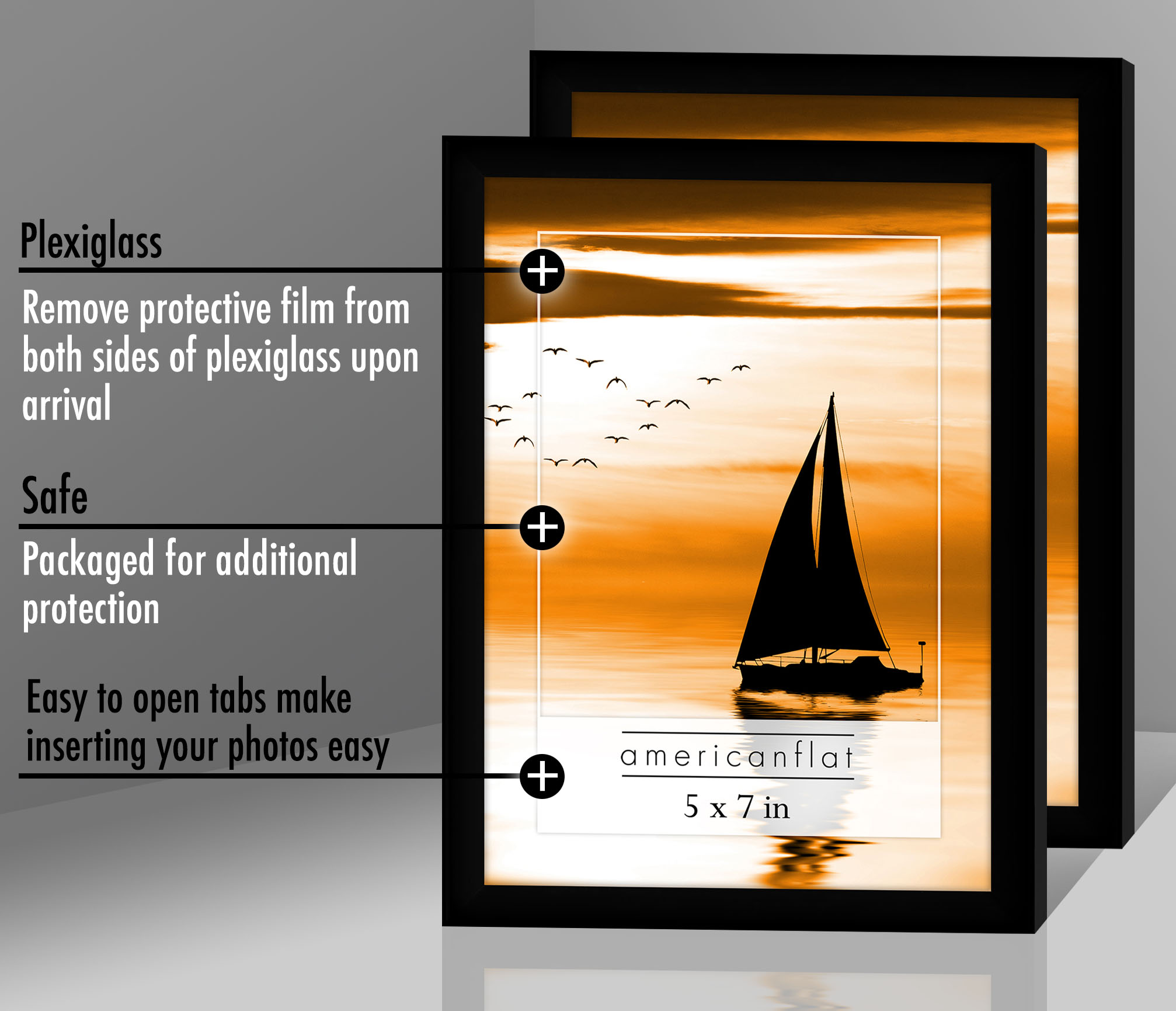 miniature 40 - Americanflat Picture Frame Black Plastic 4x6 5x7 8x10 Wall Tabletop 6 or 12 Pack