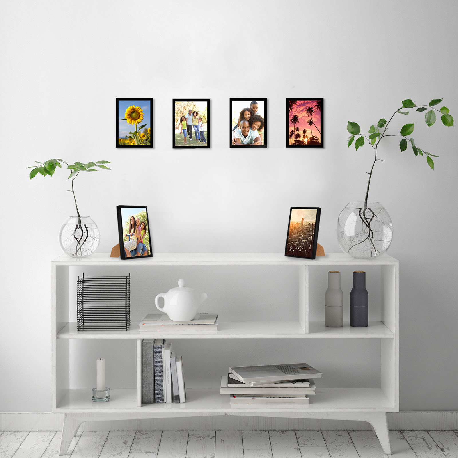 miniature 41 - Americanflat Picture Frame Black Plastic 4x6 5x7 8x10 Wall Tabletop 6 or 12 Pack