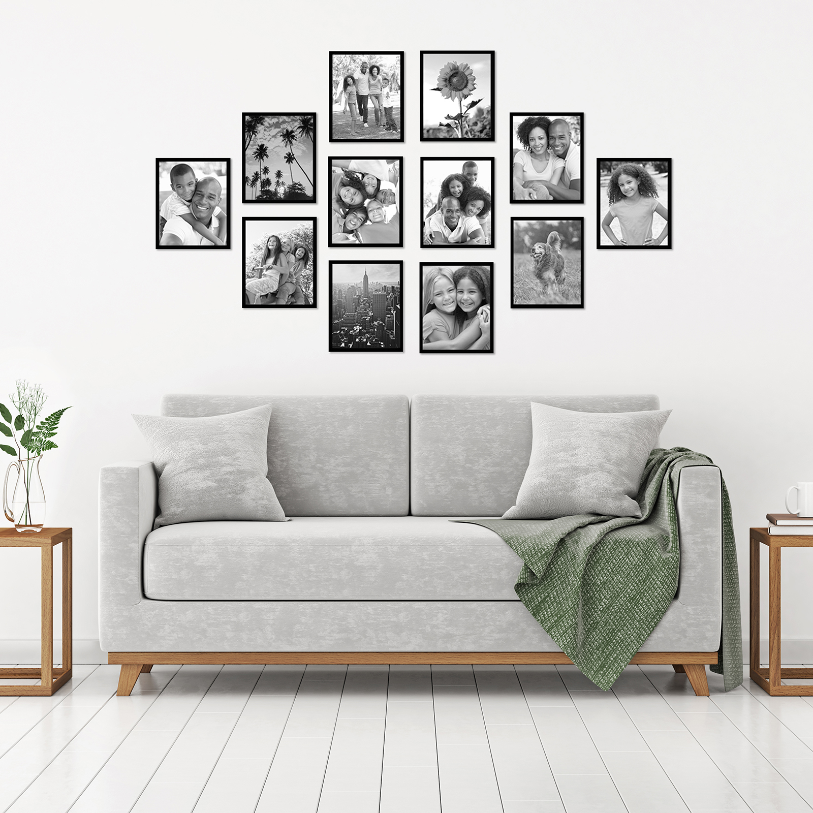 miniature 13 - Americanflat Picture Frame Black Plastic 4x6 5x7 8x10 Wall Tabletop 6 or 12 Pack