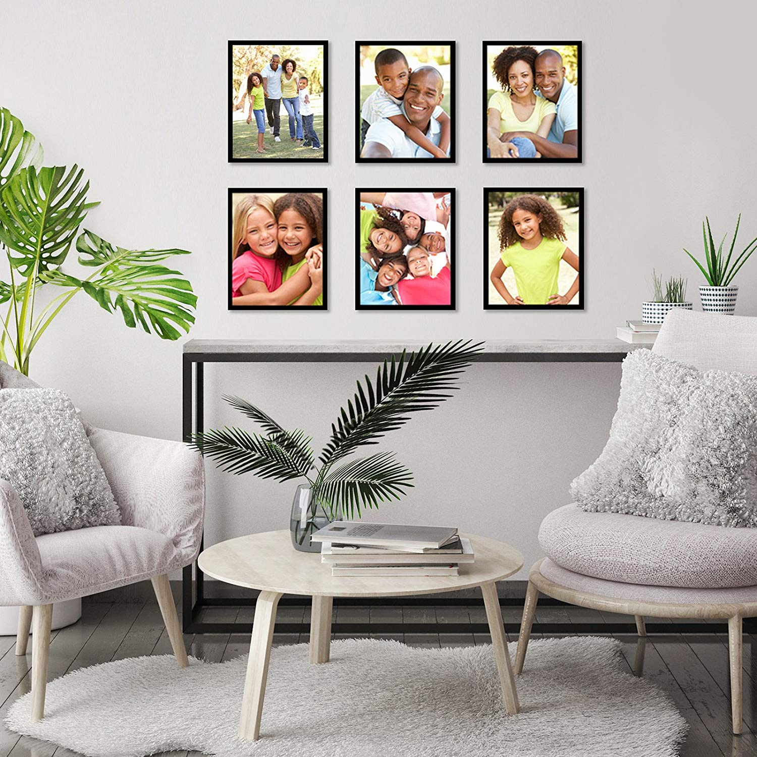 miniature 20 - Americanflat Picture Frame Black Plastic 4x6 5x7 8x10 Wall Tabletop 6 or 12 Pack