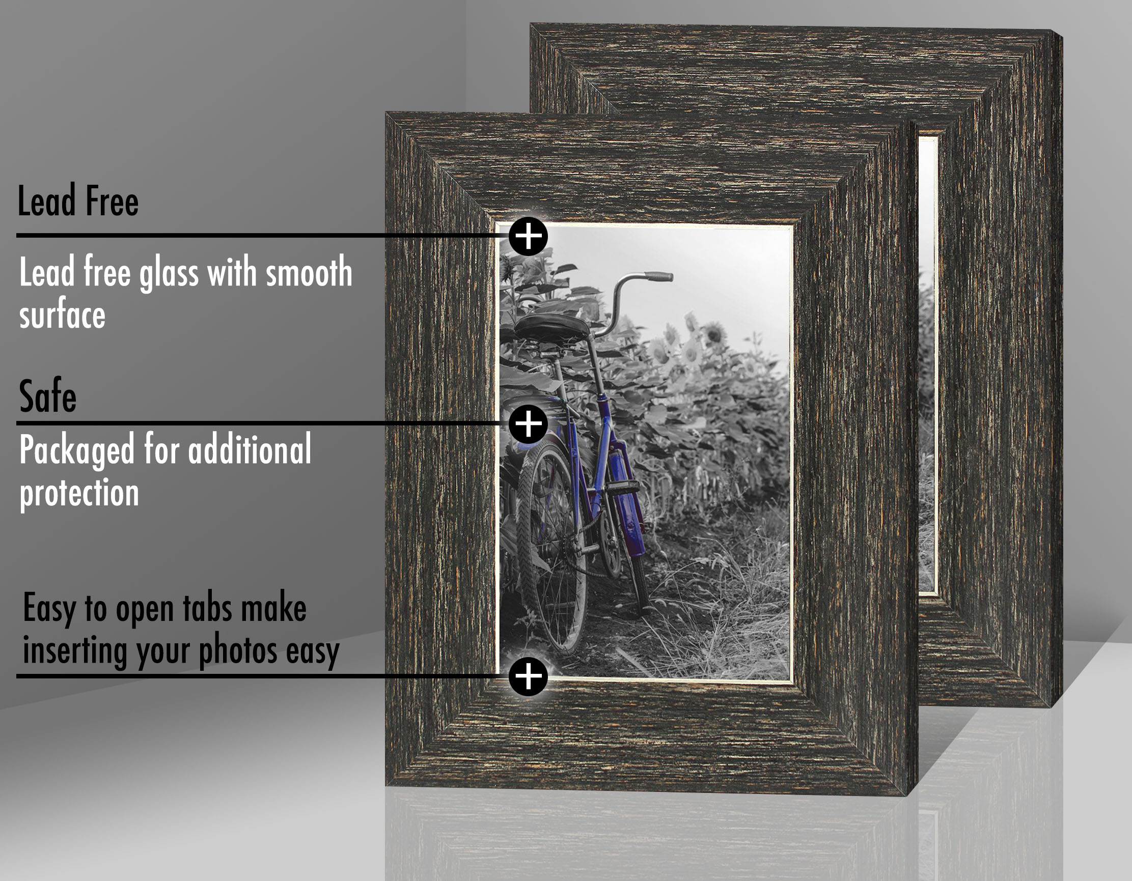 miniature 17 - Americanflat Picture Frame 4x6 5x7 8x10 (2) Pack Rustic Wood Wall or Tabletop
