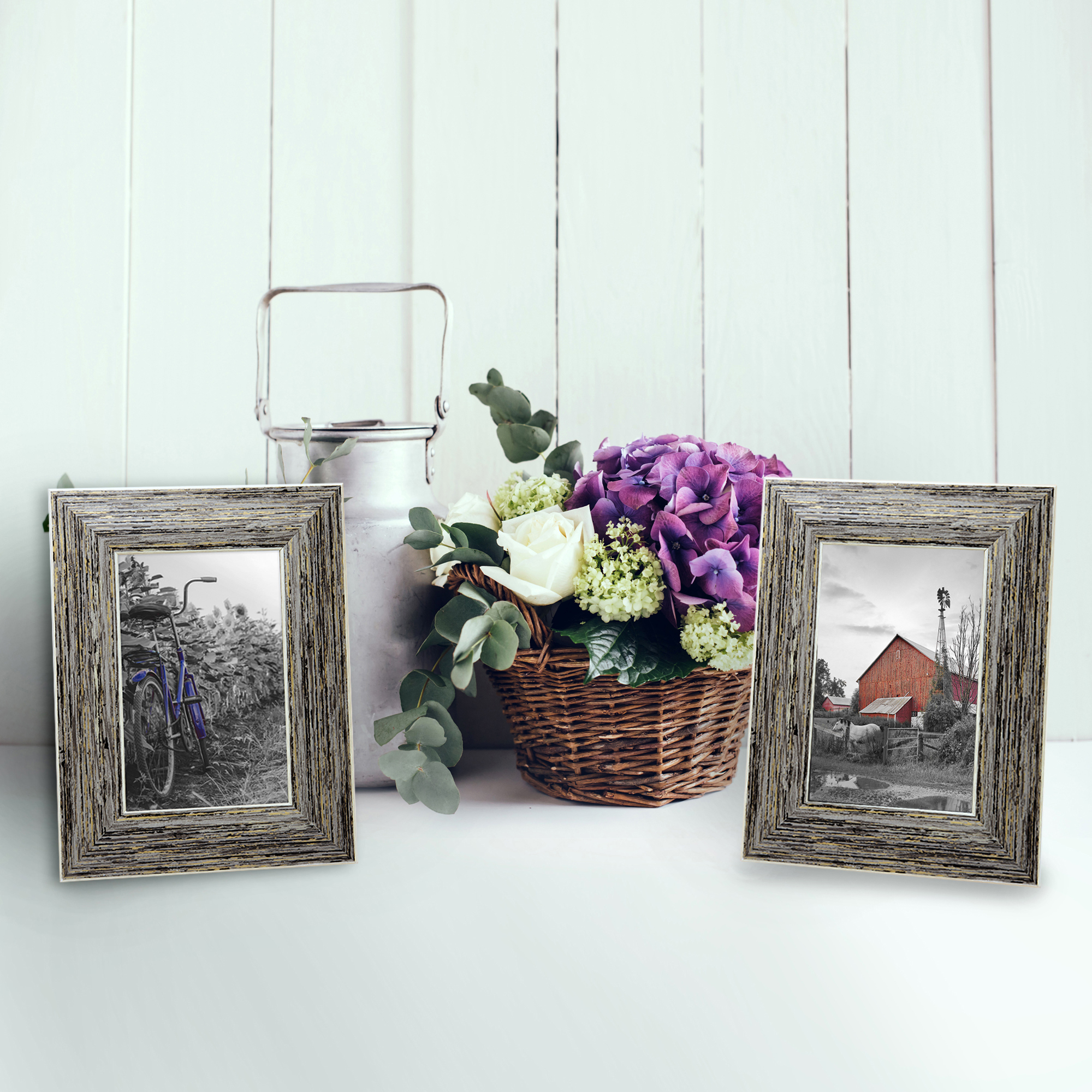 miniature 30 - Americanflat Picture Frame 4x6 5x7 8x10 (2) Pack Rustic Wood Wall or Tabletop