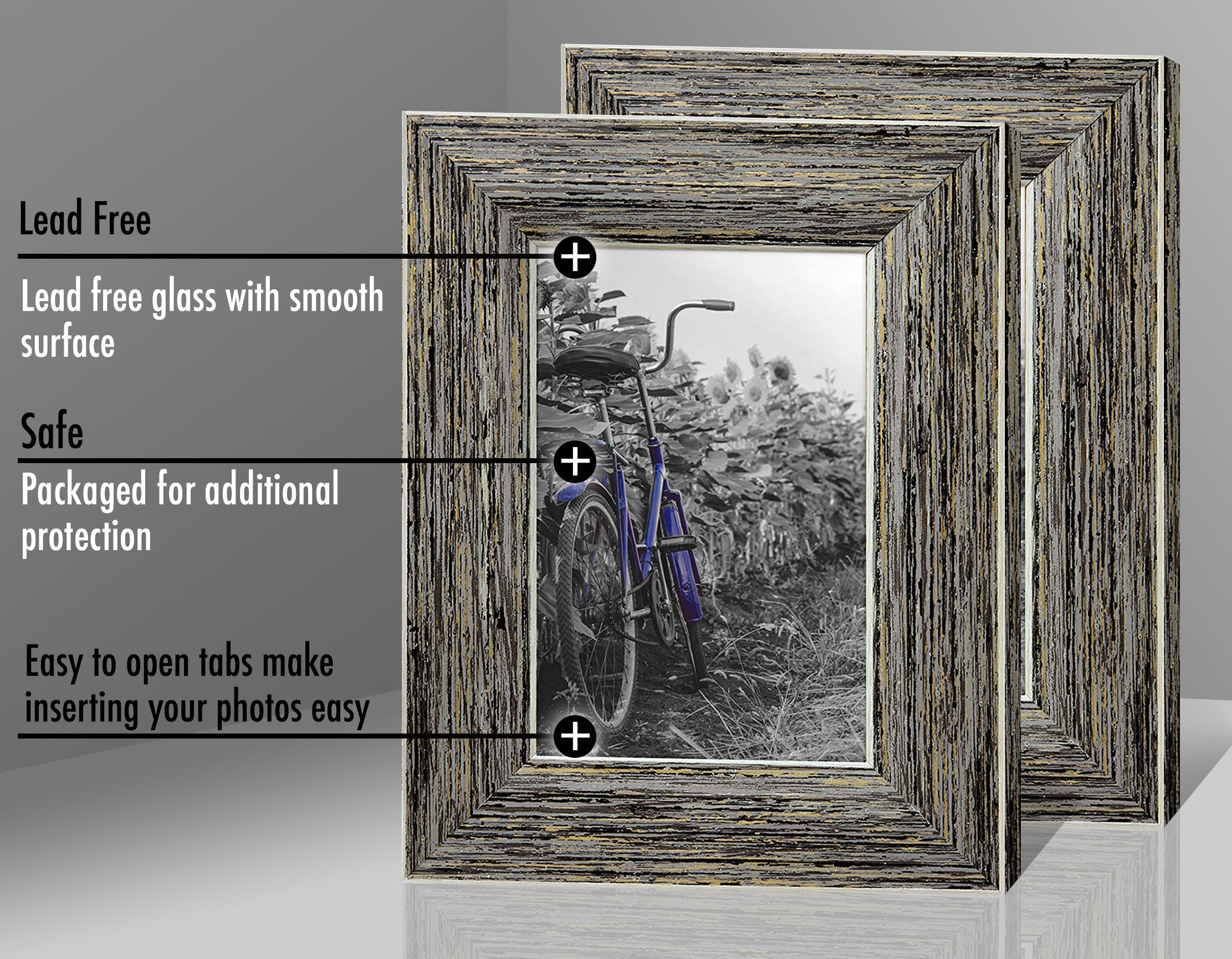 miniature 29 - Americanflat Picture Frame 4x6 5x7 8x10 (2) Pack Rustic Wood Wall or Tabletop