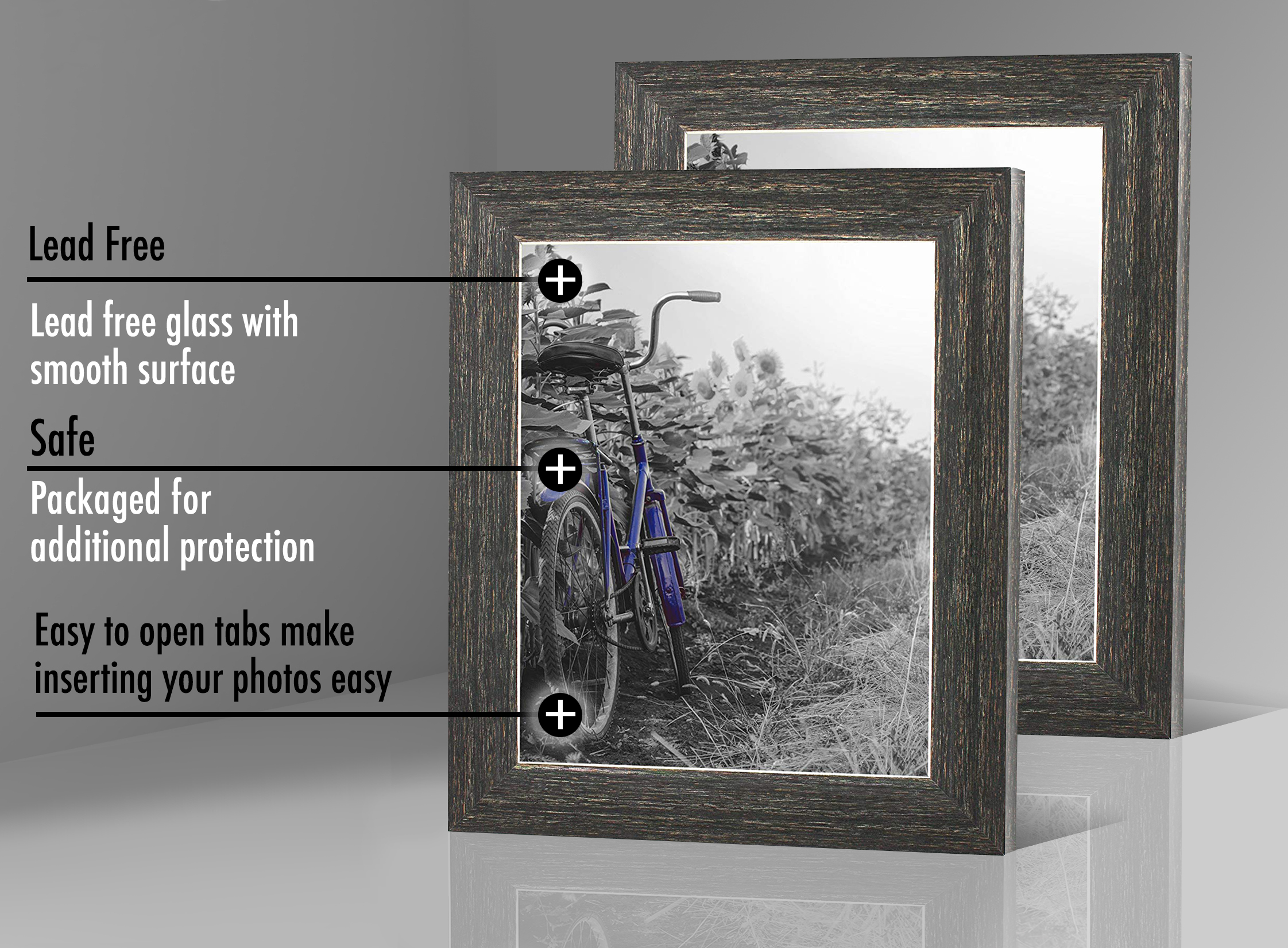 miniature 24 - Americanflat Picture Frame 4x6 5x7 8x10 (2) Pack Rustic Wood Wall or Tabletop