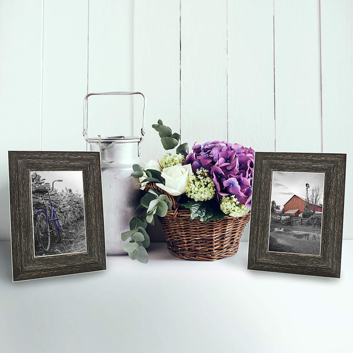 miniature 25 - Americanflat Picture Frame 4x6 5x7 8x10 (2) Pack Rustic Wood Wall or Tabletop