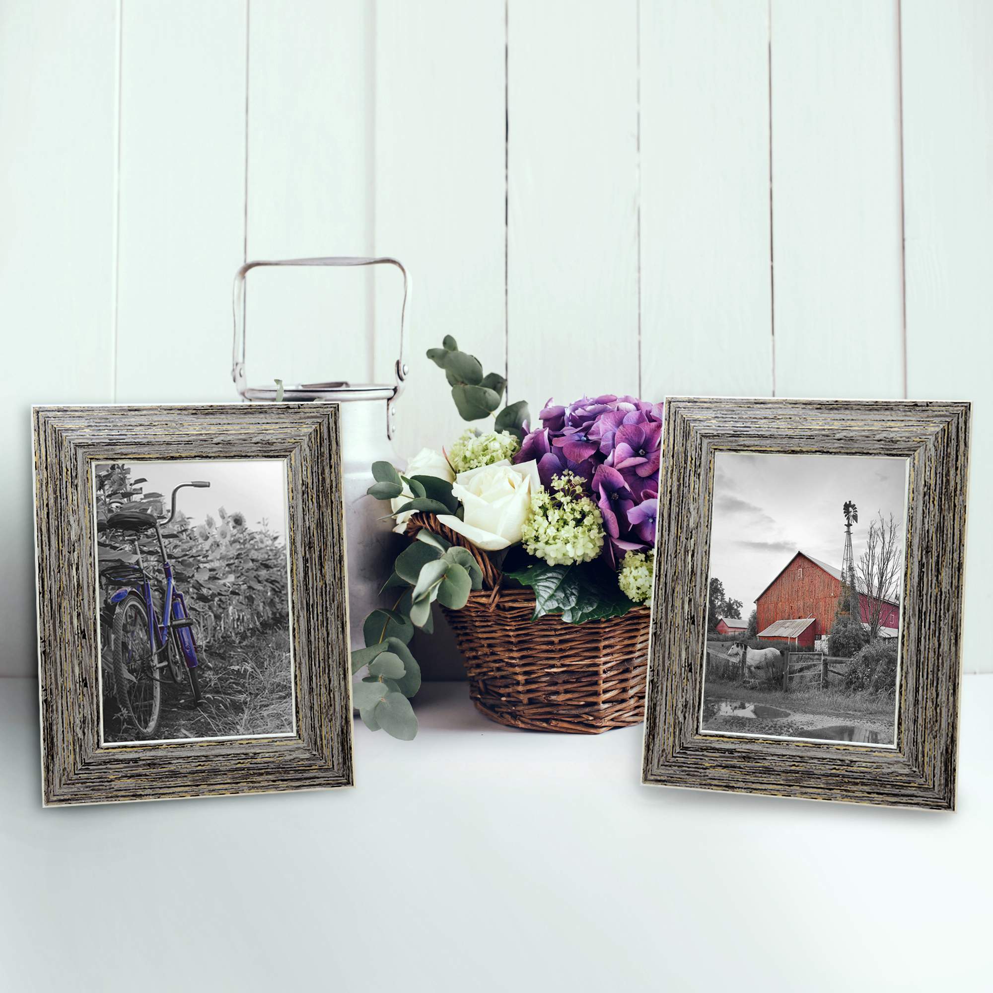 miniature 37 - Americanflat Picture Frame 4x6 5x7 8x10 (2) Pack Rustic Wood Wall or Tabletop