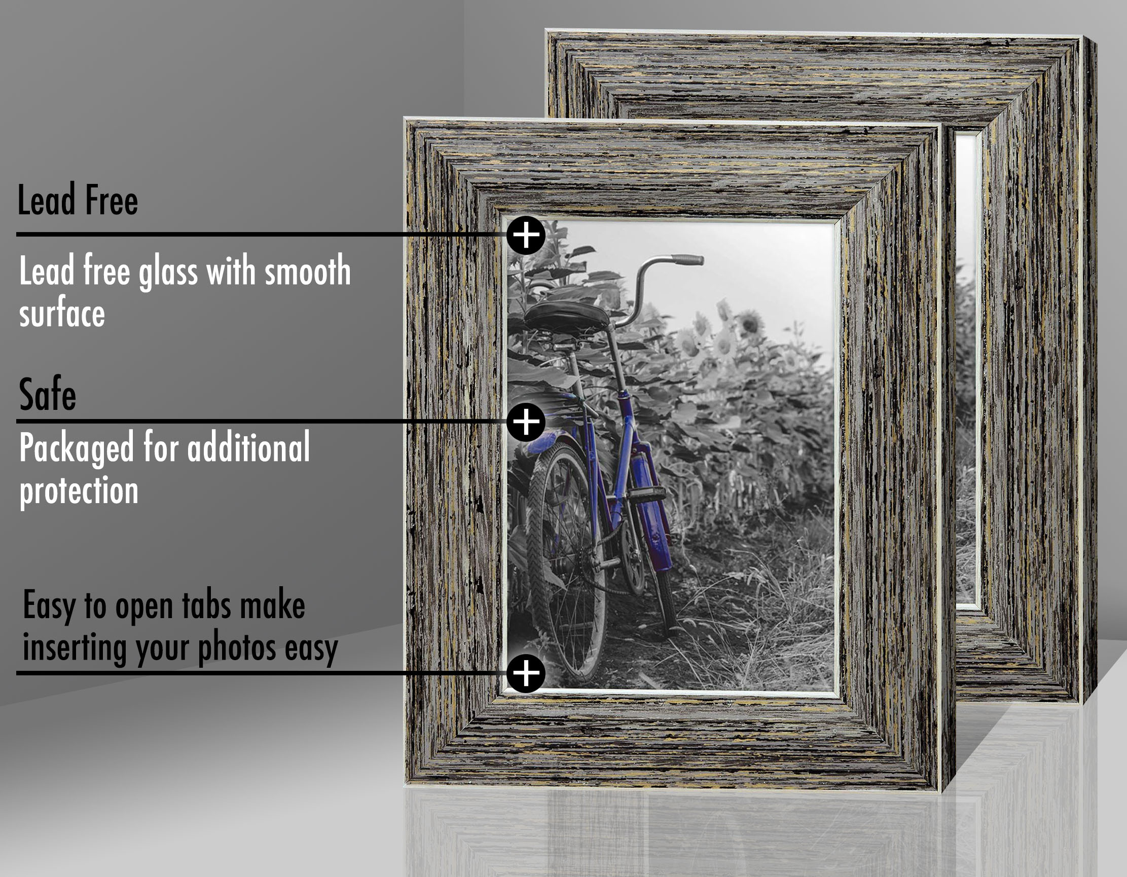 miniature 36 - Americanflat Picture Frame 4x6 5x7 8x10 (2) Pack Rustic Wood Wall or Tabletop