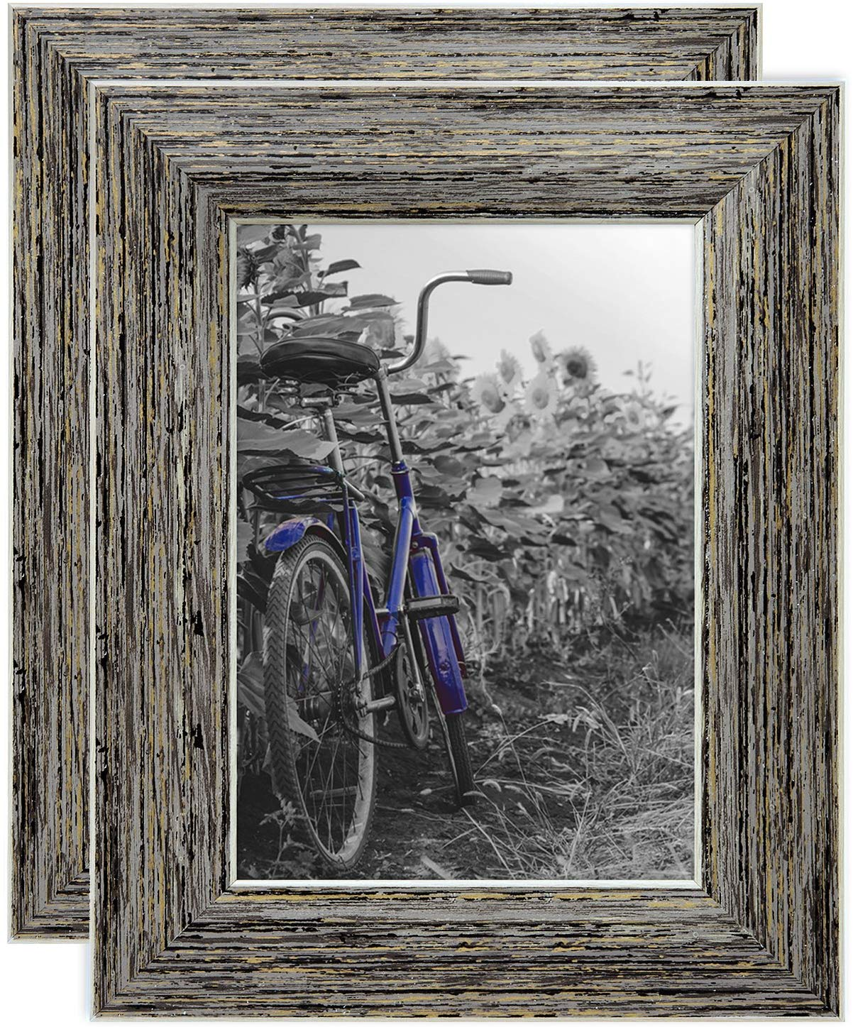 miniature 33 - Americanflat Picture Frame 4x6 5x7 8x10 (2) Pack Rustic Wood Wall or Tabletop