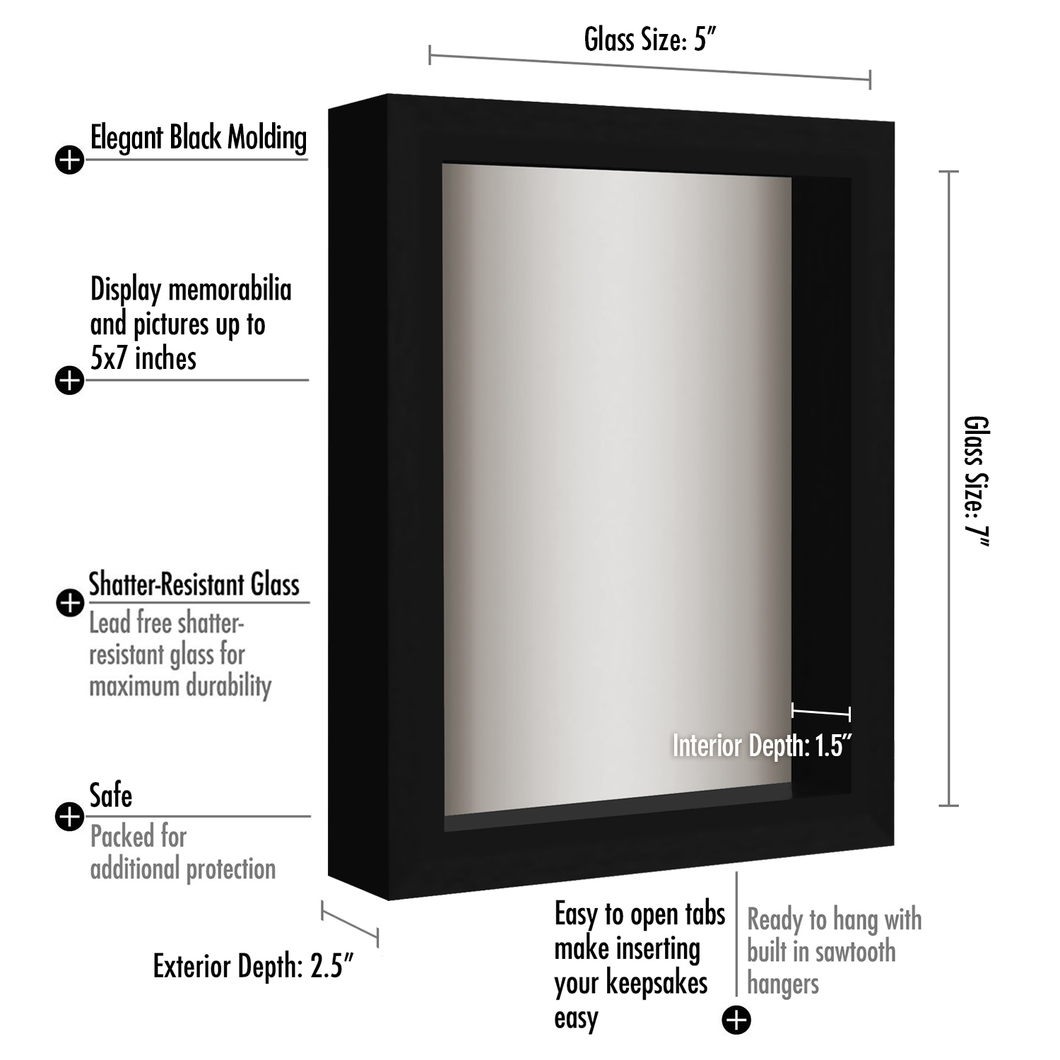 miniature 3 - Americanflat Shadow Box Frame with Soft Linen Back - Variety of Sizes