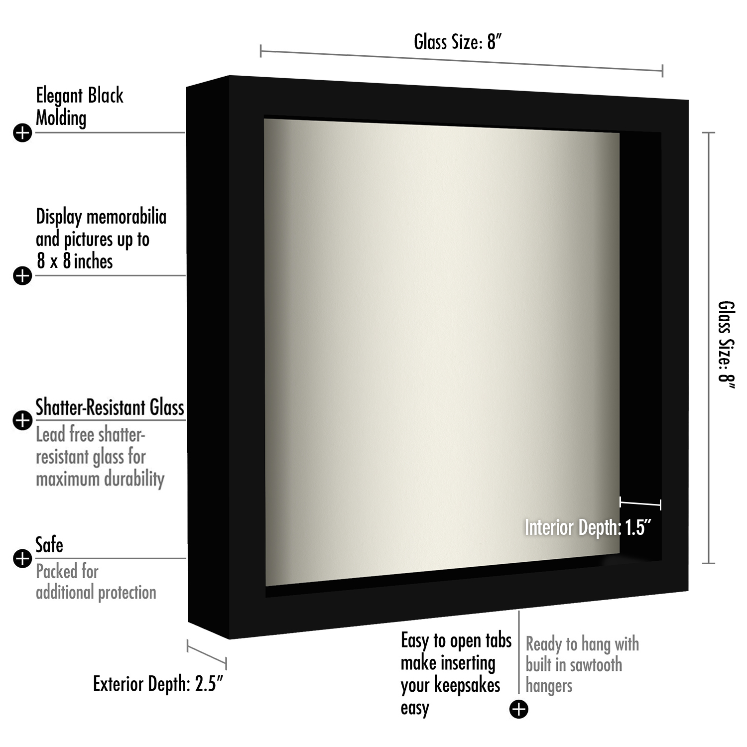 miniature 10 - Americanflat Shadow Box Frame with Soft Linen Back - Variety of Sizes