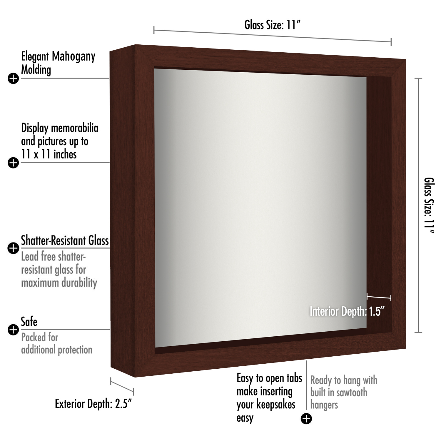 miniature 27 - Americanflat Shadow Box Frame with Soft Linen Back - Variety of Sizes