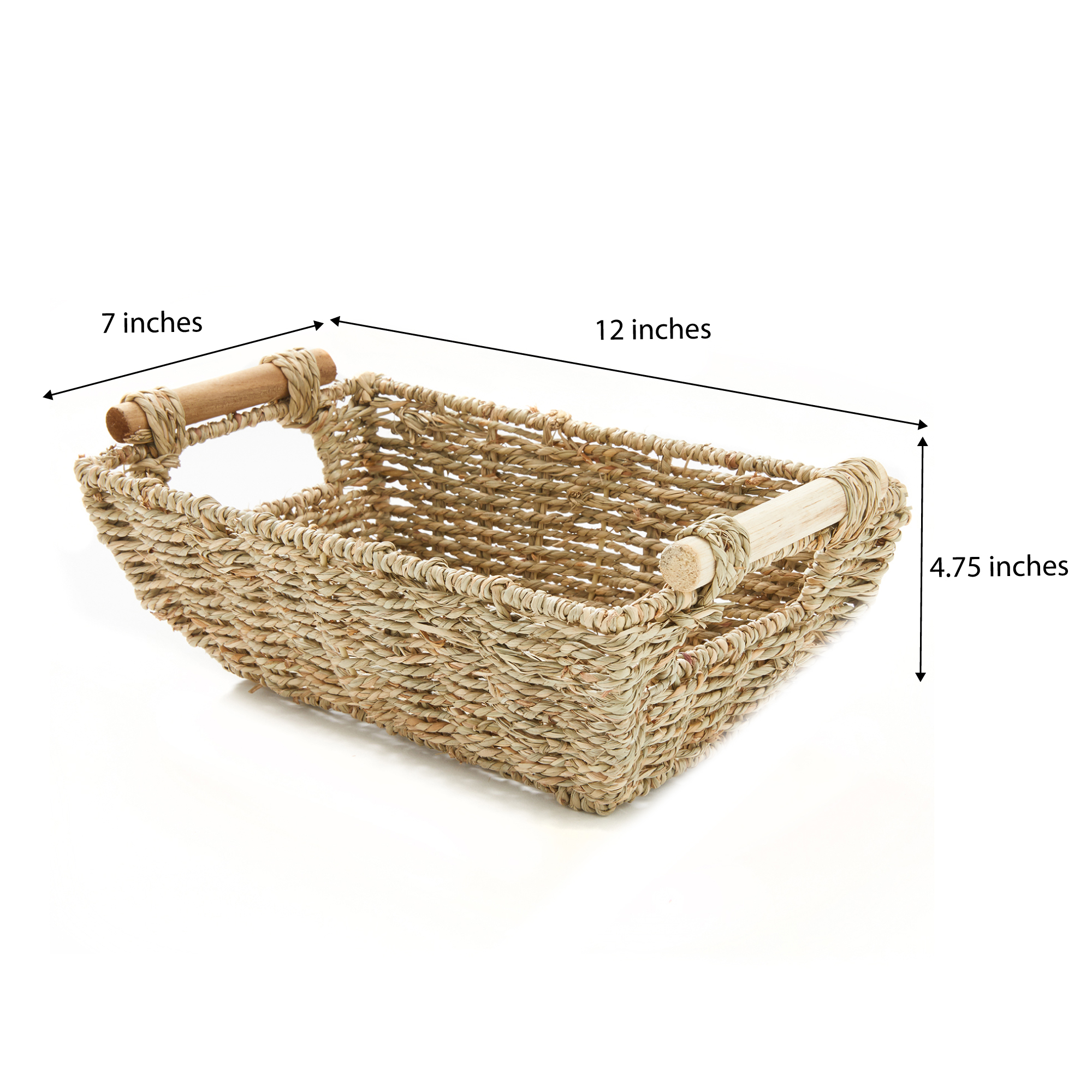 """miniature 5 - Americanflat Storage Basket with Wooden Handles - 12"""" x 7"""""""