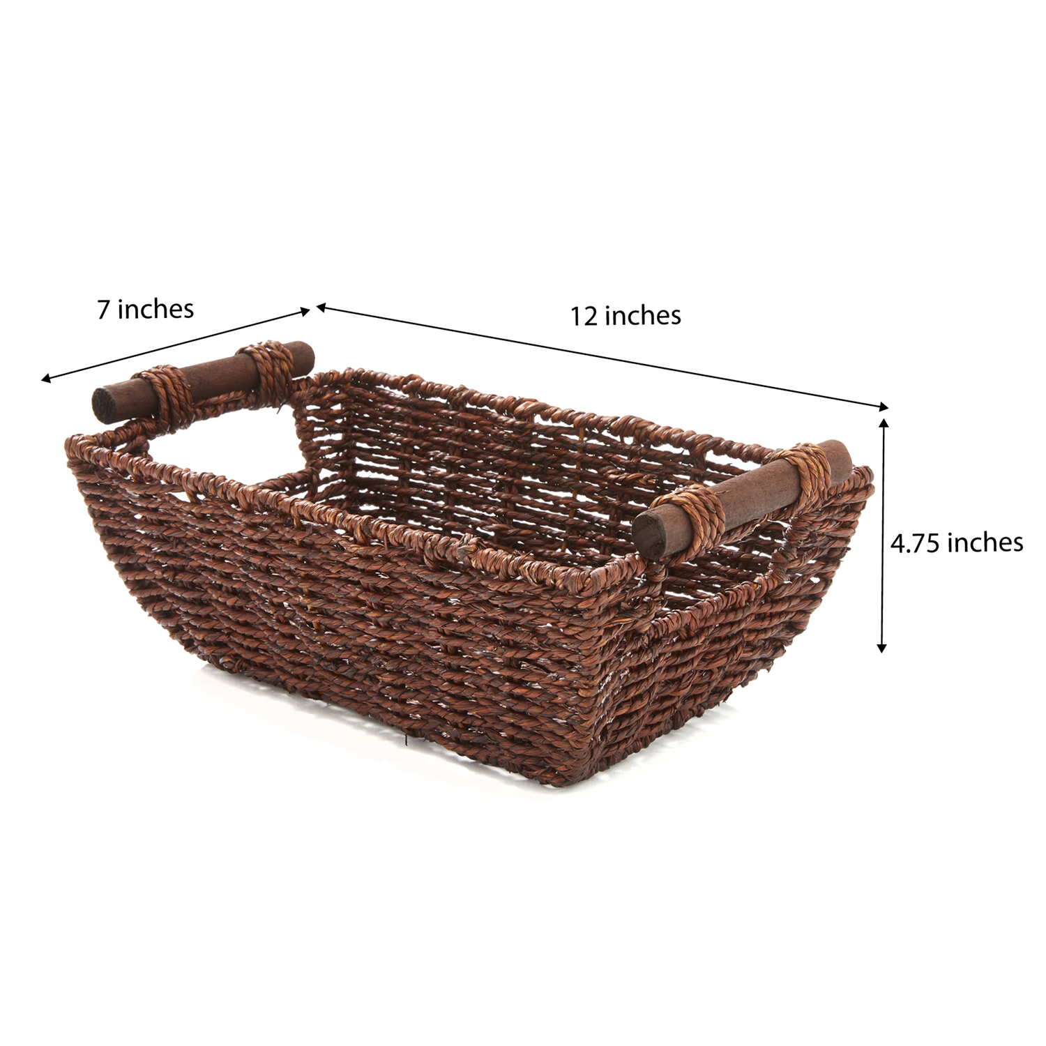 """miniature 10 - Americanflat Storage Basket with Wooden Handles - 12"""" x 7"""""""