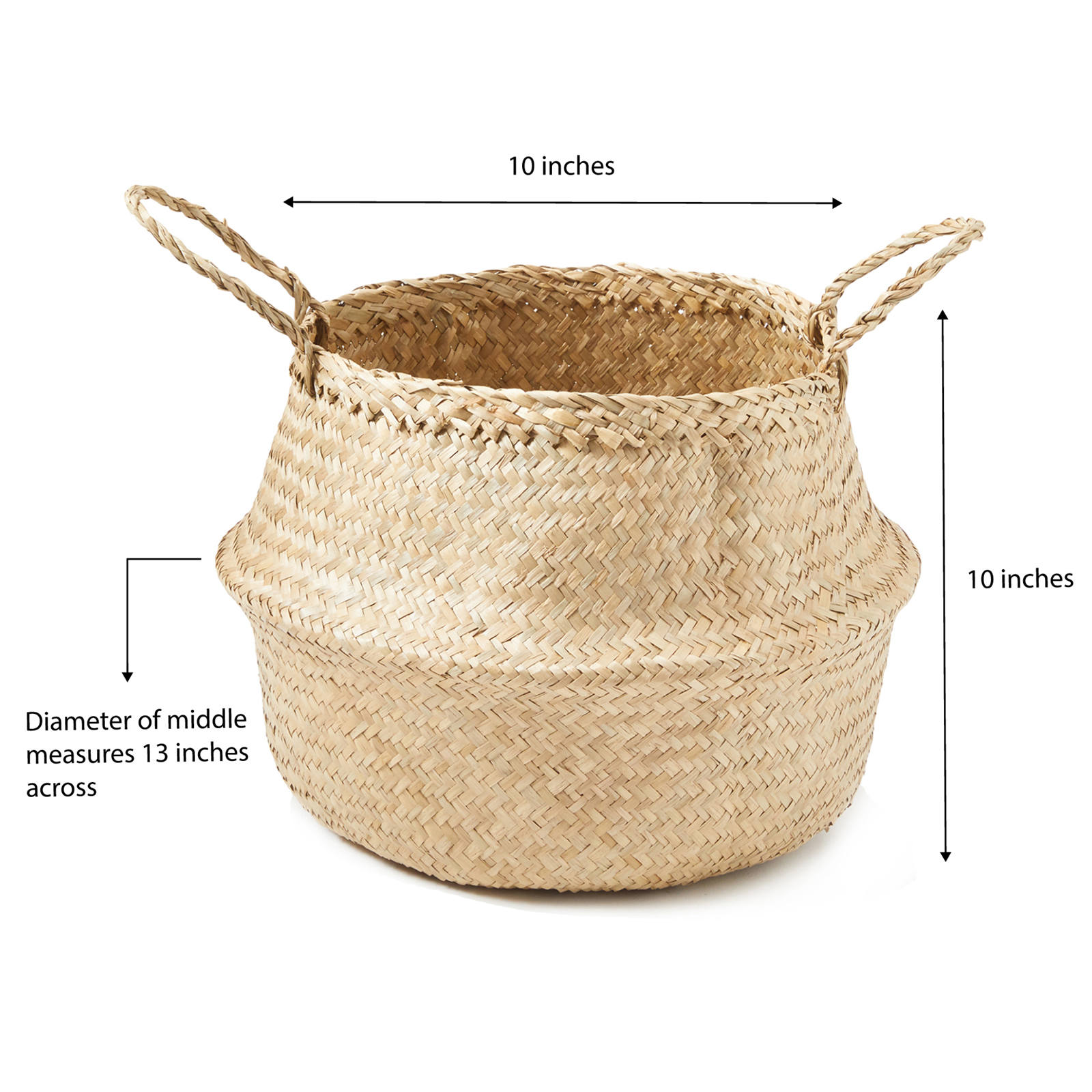 miniature 5 - Hand-Woven Palm and Seagrass Belly Baskets for Storage and Organization