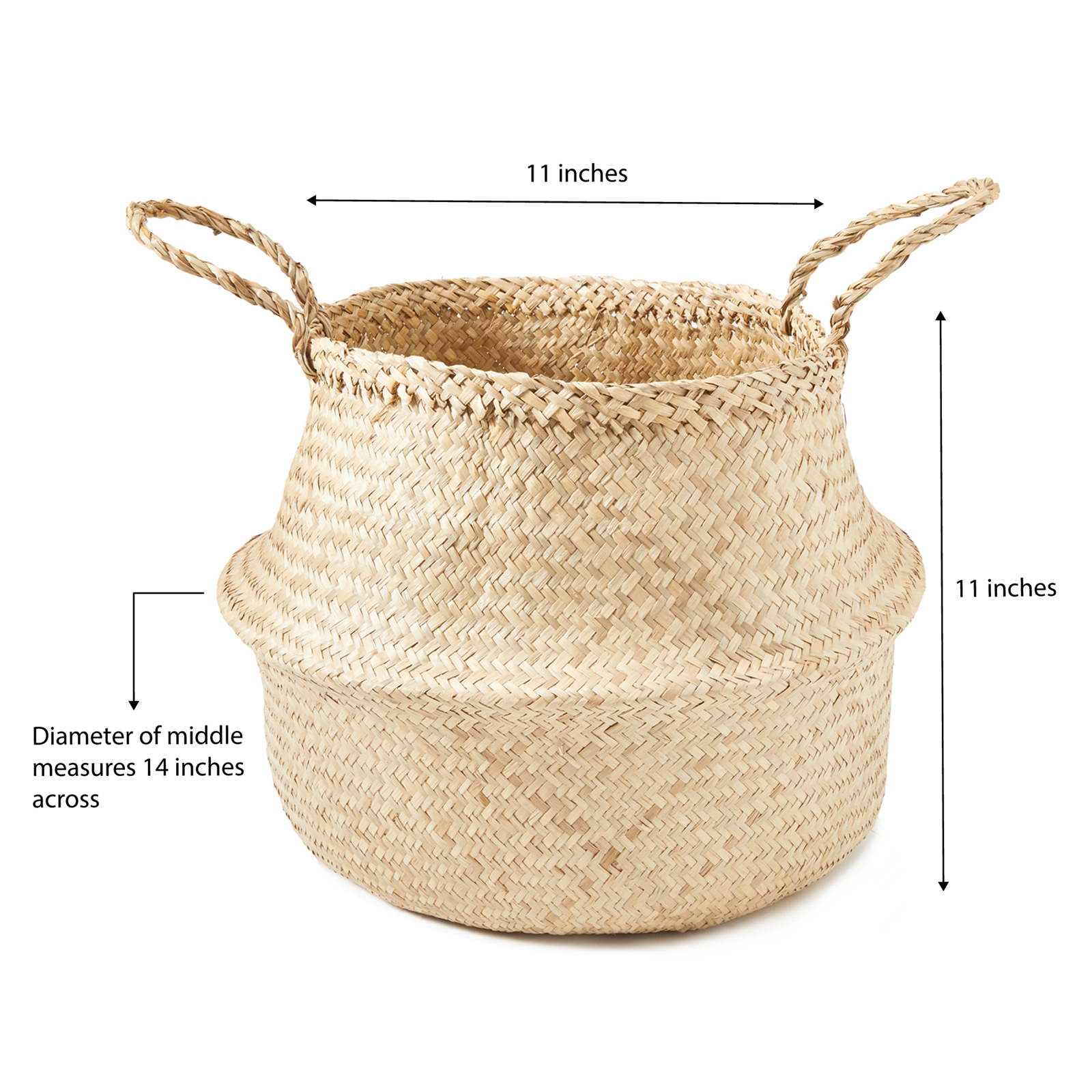 miniature 10 - Hand-Woven Palm and Seagrass Belly Baskets for Storage and Organization