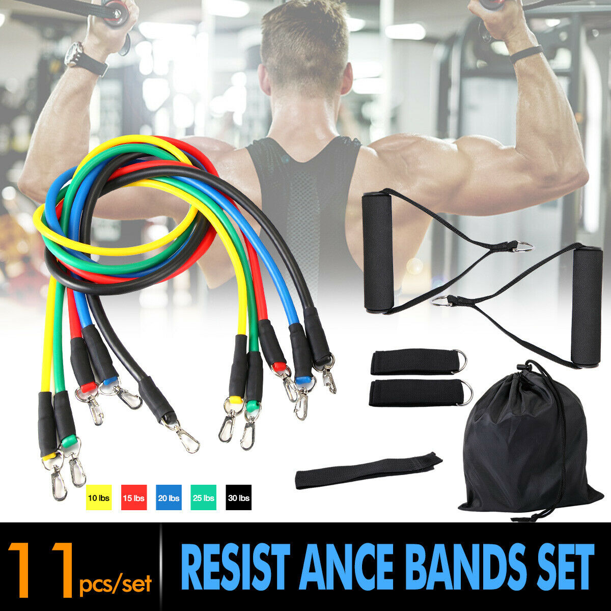 11Pcs Resistance Bands Home Workout Exercise Crossfit Fitness Gym Train US STOCK