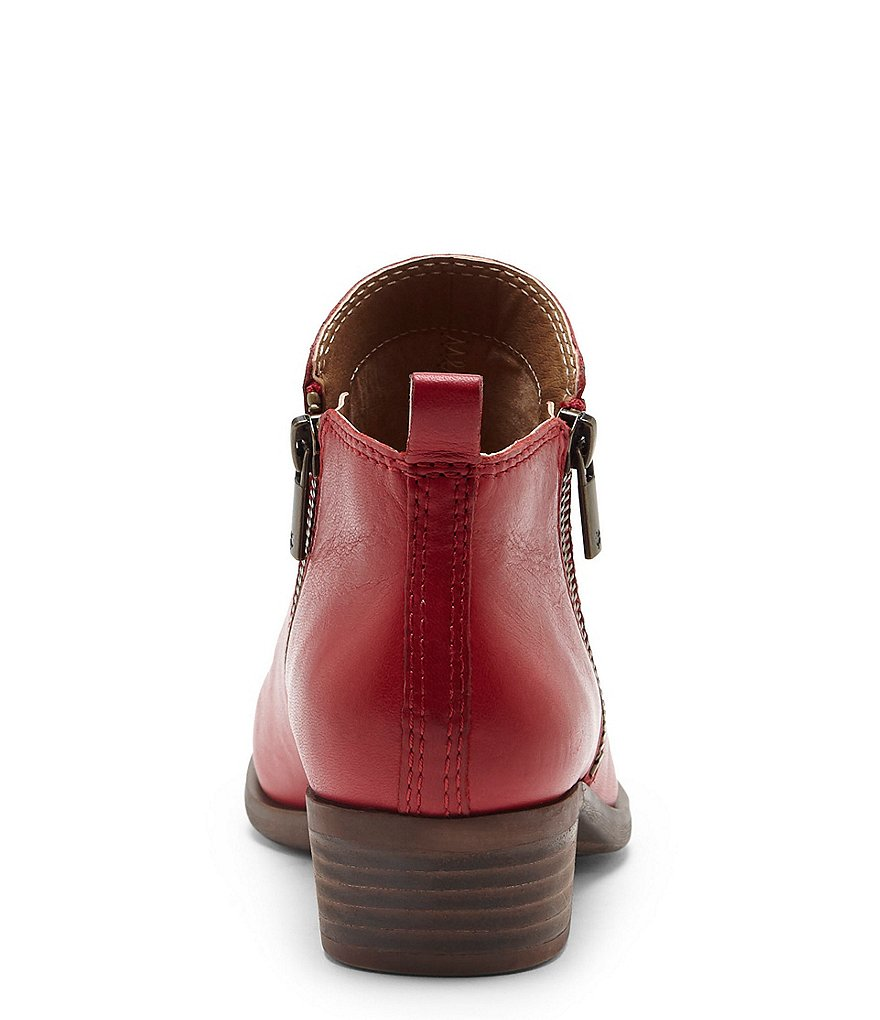 a17fba77c314a Lucky Brand Basel Smooth Leather Zip Block Heel Booties Garnet Red ...