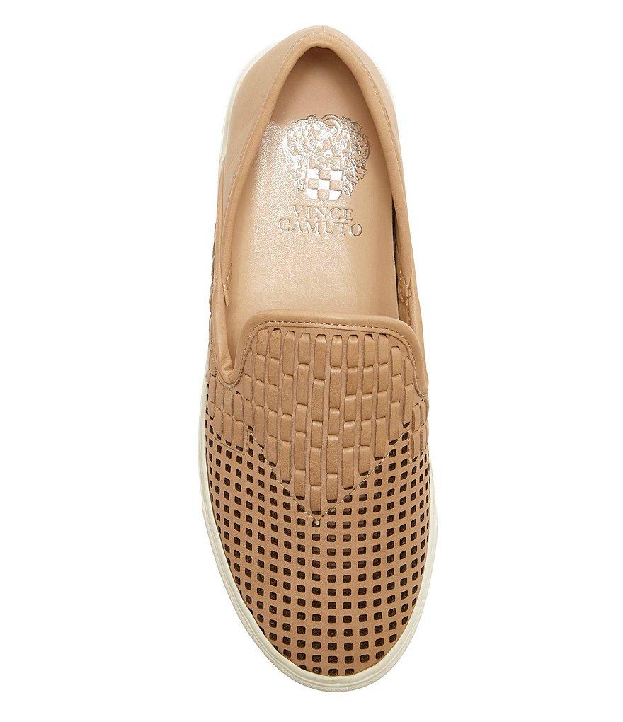 Vince Camuto Bristie Natural Nude Leather Woven White White White Sole Slip On Sneakers 6976f4