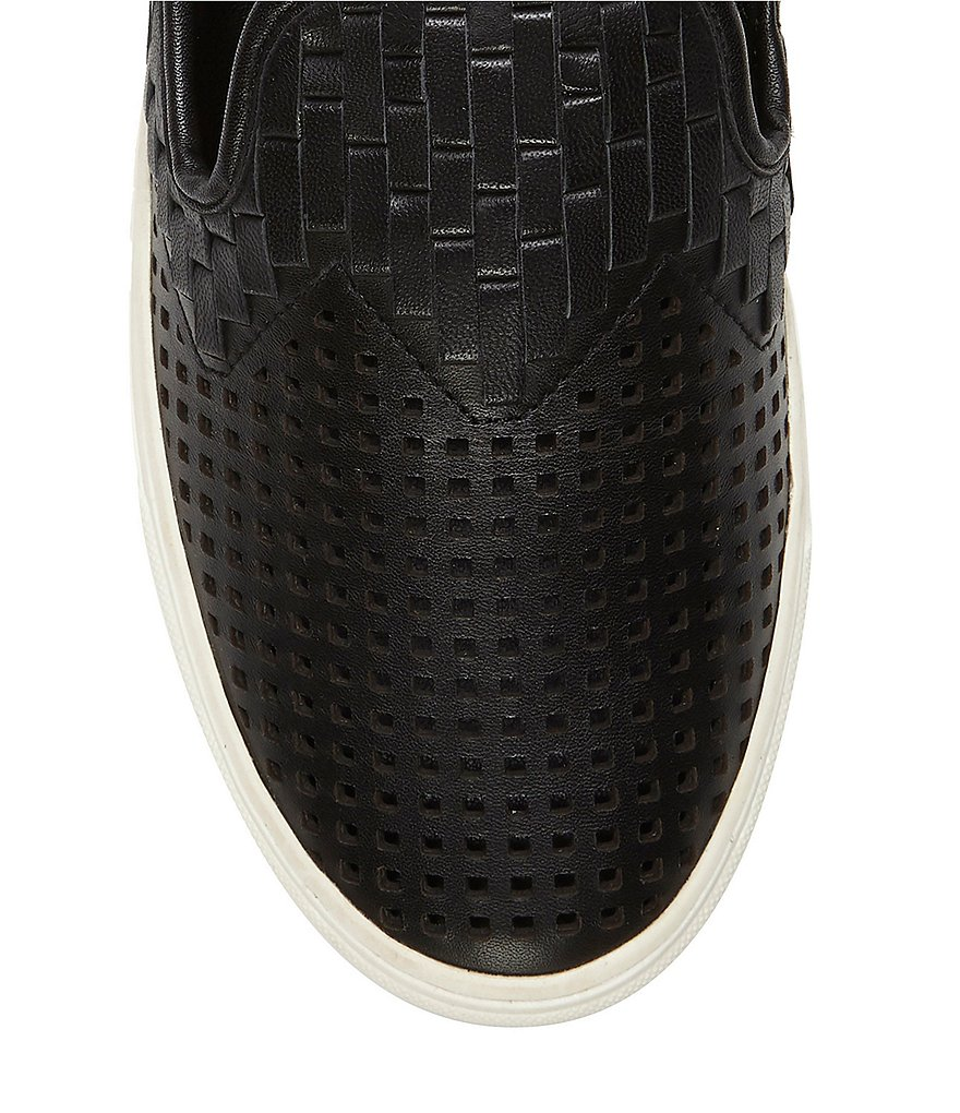 Vince-Camuto-Bristie-Black-Leather-Woven-White-Sole-Slip-On-Sneakers thumbnail 16