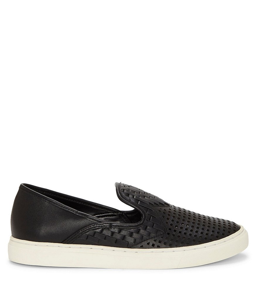 Vince-Camuto-Bristie-Black-Leather-Woven-White-Sole-Slip-On-Sneakers thumbnail 11