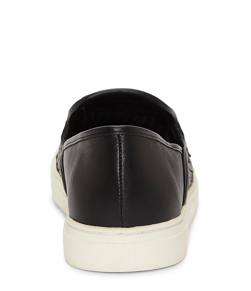 Vince-Camuto-Bristie-Black-Leather-Woven-White-Sole-Slip-On-Sneakers thumbnail 12