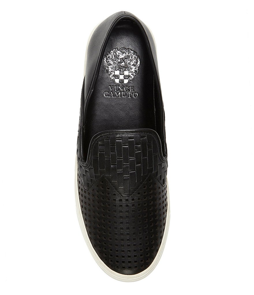 Vince-Camuto-Bristie-Black-Leather-Woven-White-Sole-Slip-On-Sneakers thumbnail 14