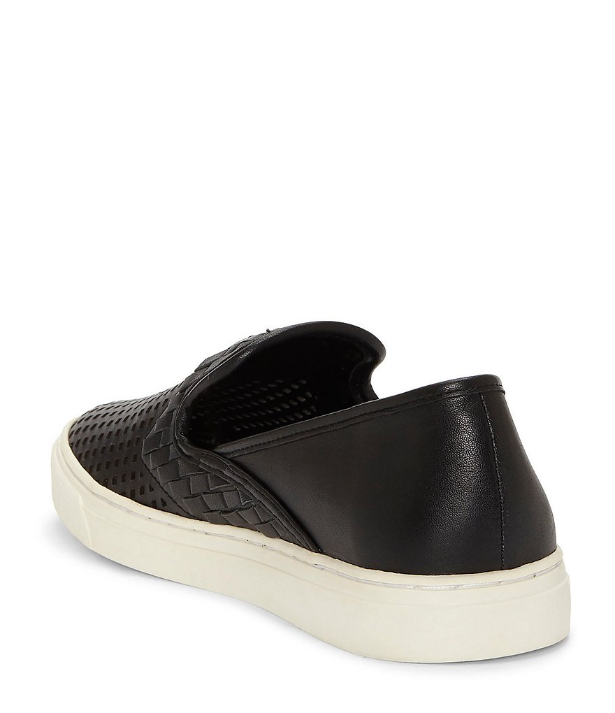 Vince-Camuto-Bristie-Black-Leather-Woven-White-Sole-Slip-On-Sneakers thumbnail 13