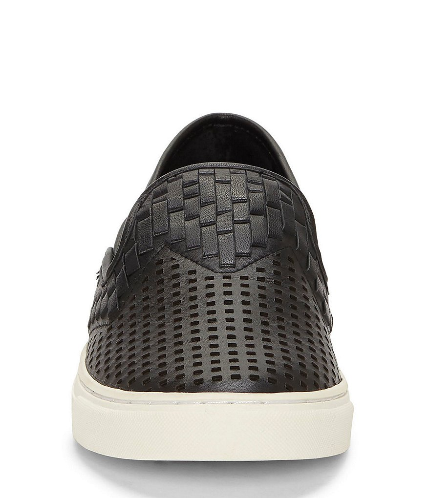 Vince-Camuto-Bristie-Black-Leather-Woven-White-Sole-Slip-On-Sneakers thumbnail 15