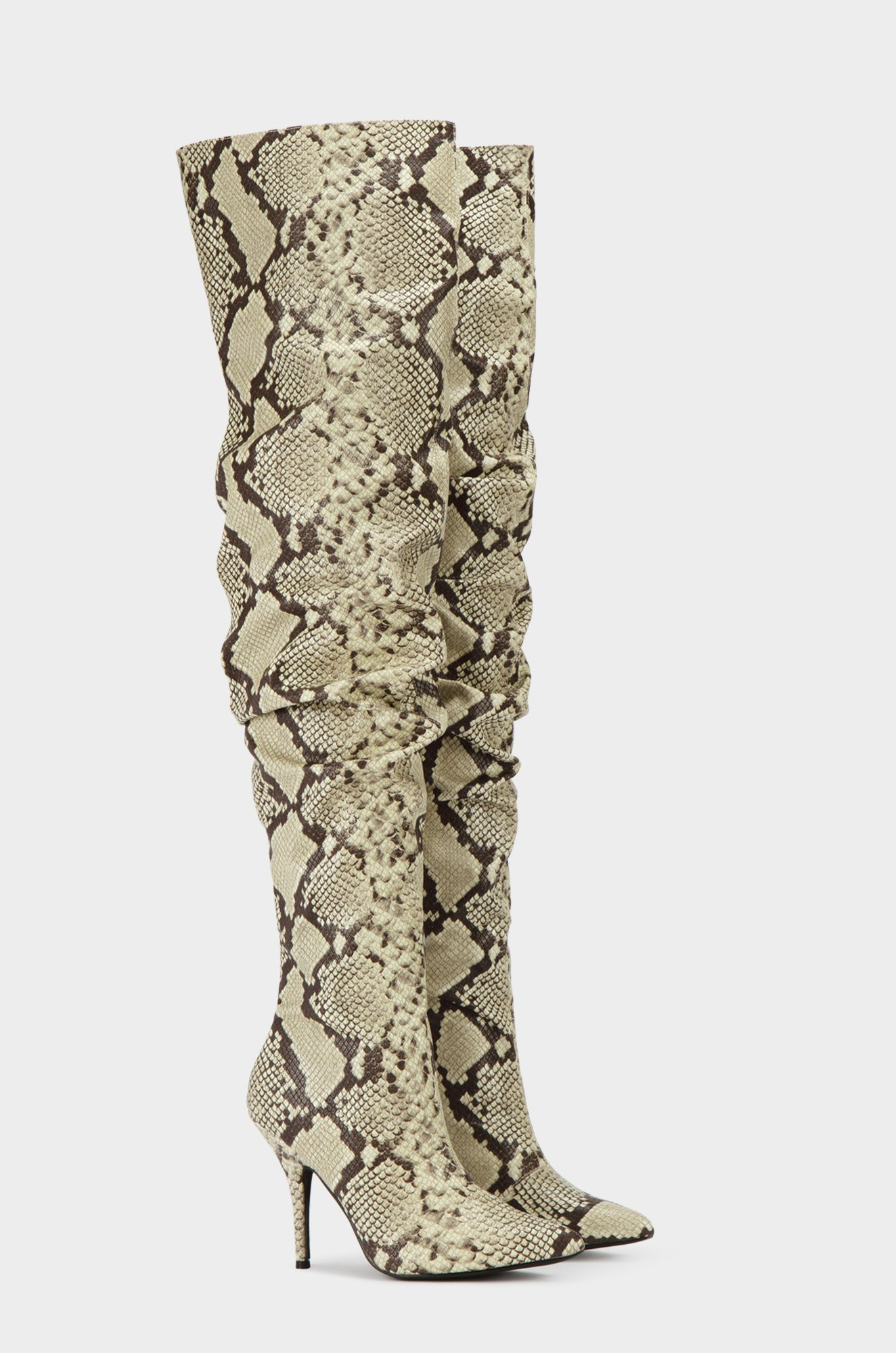 Cape-Robbin-Bown-Snake-Thigh-High-Slouch-Pointed-Toe-Over-The-Knee-Stiletto-Boot thumbnail 20