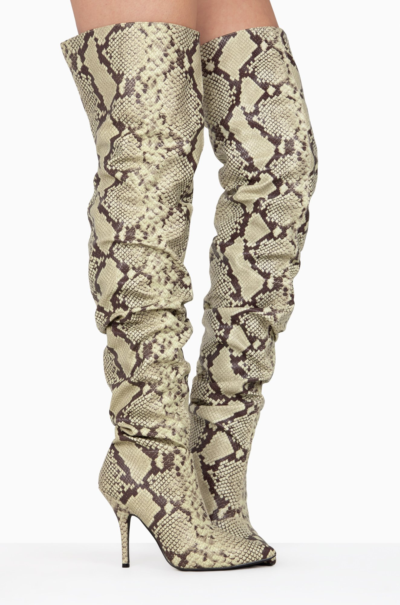 Cape-Robbin-Bown-Snake-Thigh-High-Slouch-Pointed-Toe-Over-The-Knee-Stiletto-Boot thumbnail 39