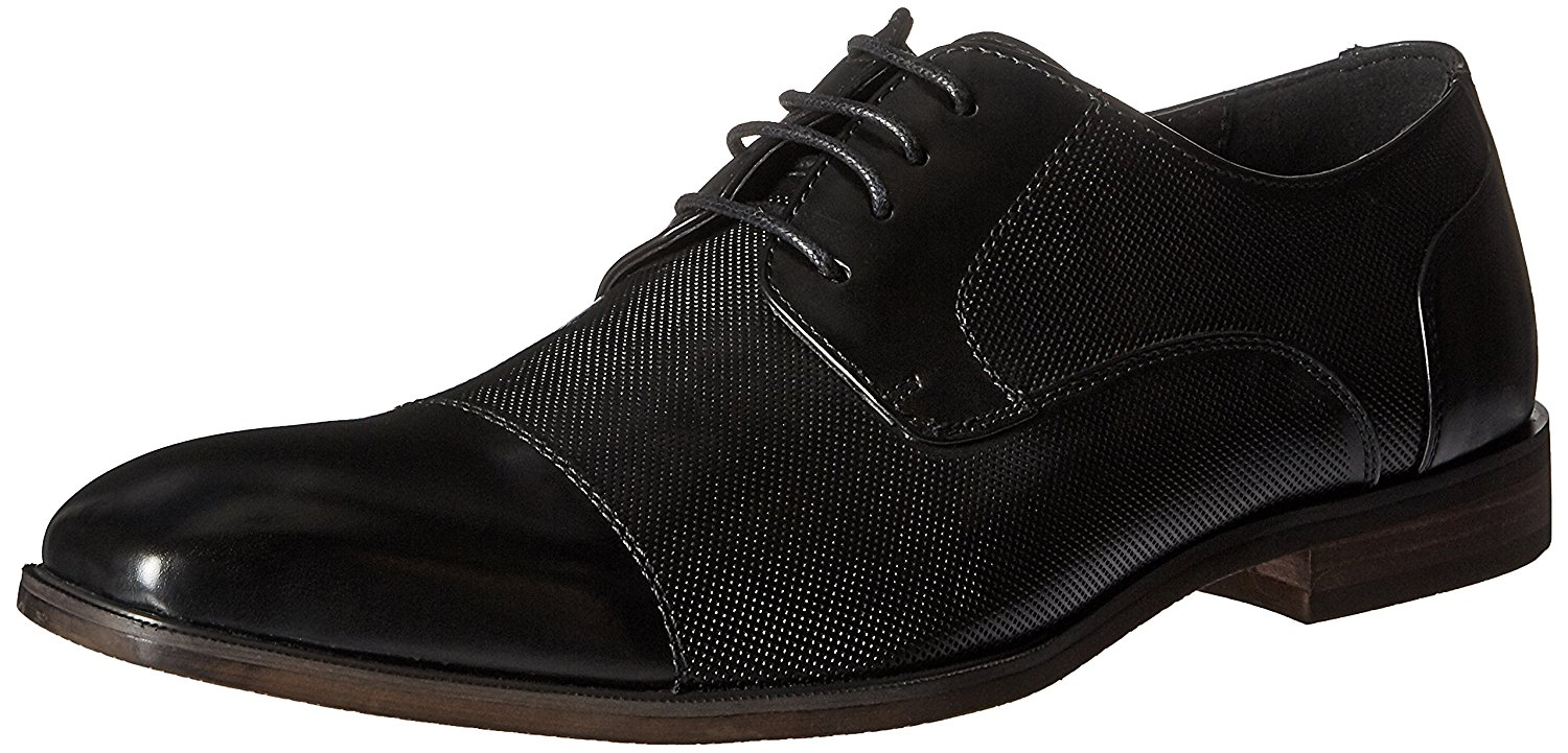 Kenneth Cole Men s Dinner Party Black Leather Design Lace Up Oxford ... 90d032b3299